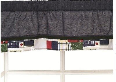 Kids Line Oxford Bear Window Valance Nursery Babies R Us Denim Plaid