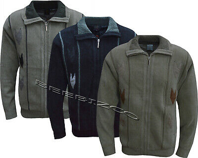 Mens Knitted Full Zip Lined Chenille Classic Cardigan Jumper Sweater  M - XXL