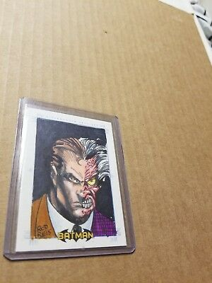 Batman Archives Two Face Sketch Card by Rod Reis 1/1 Rittenhouse hand drawn