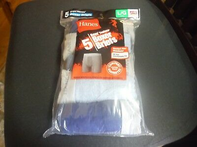 Hanes Boy's 5 Pack Soft Tagless Boxer Briefs Blue Colors Size L (14- 16) New!