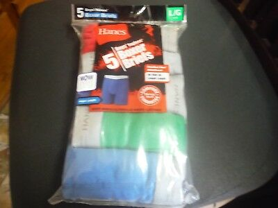 Hanes Boy's 5 Pack Soft Tagless Boxer Briefs Variety w/Red Size L (14- 16) New