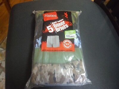 Hanes Boy's 5 Pack Soft Tagless Boxer Briefs Camo/GreenBlack Size L (14- 16) New