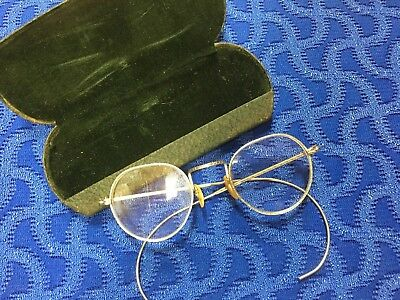 ANTIQUE-VTG Etched Silver Metal Wire Spectacles Eyeglasses Round W/ Case