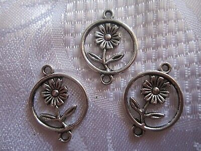 Flower in Circle Charm x 3 Tibetan Antique Silver Garden