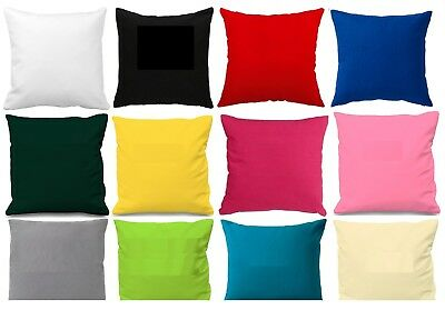 "Plain Poly Cotton Cushion Cover 10"" to 24"" Sizes Available 30 colours"
