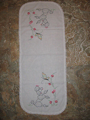 Vintage Poodle & Butterfly Hand Embroidered Doiley