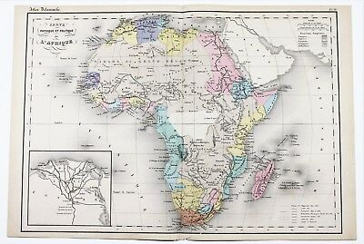 1868 Africa Map Cape Colony Sahara Desert Egypt Nigeria Delamarche