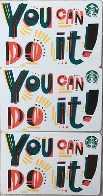 "Lot 3 Starbucks ""YOU CAN DO IT"" 2018 Recycled Paper Gift Card set NEW!"
