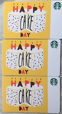 "Lot 3 Starbucks ""HAPPY CAKE DAY"" 2018 Recycled Paper Gift Card set NEW!"
