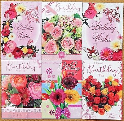 6 PACK OF LADIES FEMALE BIRTHDAY CARDS Ladies Floral Birthday Greeting Cards H2