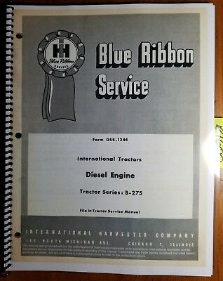 IH International BD-144A Engine for B-275 Tractor Service Manual GSS-1244