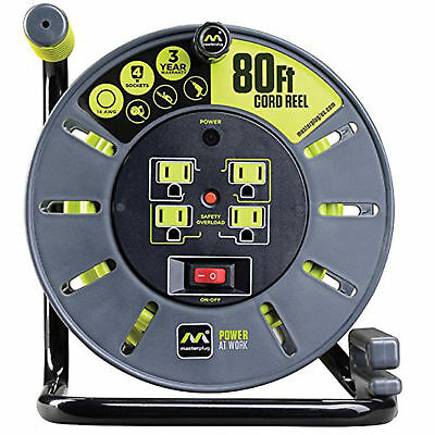 Extension Cord 80ft Heavy Duty Open Reel 4 Integrated Outlets Plug