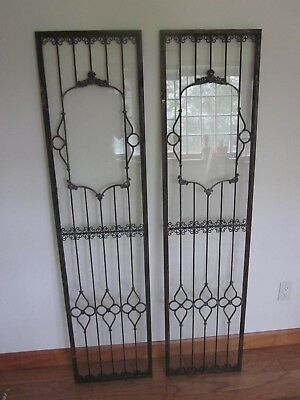 Two Glass Doors Windows Steel Frame Faux Lead Glass 10000 Picclick