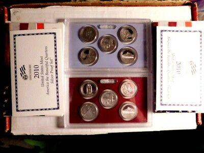 2010-S America The Beautiful Silver(1) & Clad(1) Proof Quarter Sets