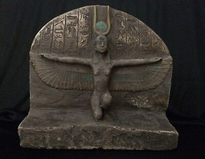 EGYPTIAN ANTIQUES GODDESS Winged ISIS EGYPT Statue STELA Stone 1200–1085 BC