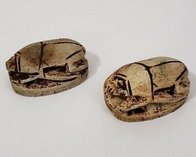 2 Ancient Egyptian Stone Scarab Beetles Amulet Figurines with Hieroglyphs