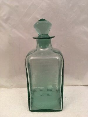 Decanter Bottle - Clear Green Blue Glass Etched Sail Ship