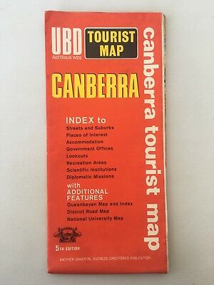 1972/1973 UBD Tourist Map Canberra
