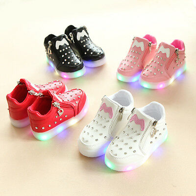 Baby Kids Girls Boys LED Light Shoes Luminous PU Leather Sports Casual Sneakers