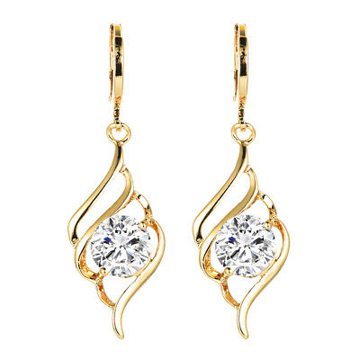Fashion Women 18K Gold Plated Curve White Round CZ Drop Earrings Jewelry Party