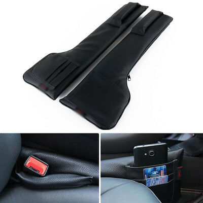 2PCS Universal Auto Car Black PU Leather Seat Side Gap Filler Storage Pocket