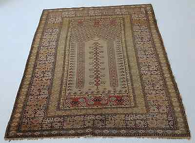 Antique Turkish silk Oriental Rug ,hand made,beautiful,very fine 4' X 6'