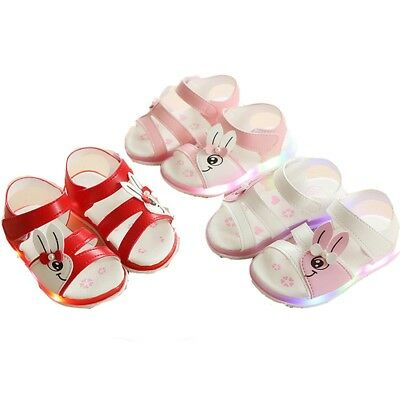 Toddler Kids Baby Girls LED Luminous Sandals Soft Leather Summer Shoes Sneakers