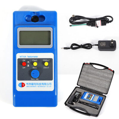 WT10A LCD Tesla Meter Gaussmeter Surface Magnetic Field Tester w/Accessories Kit