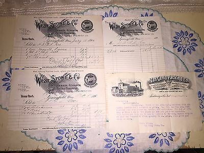 Lot Of 4 Antique Early Receipts Invoices West Stone Co Wholesale Grocers 1894
