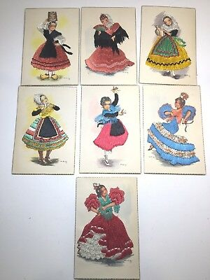 VINTAGE DOLL POSTCARDS Lot of 7 MADRID STITCHED BEAUTIFULLY MADE  MINT unposted