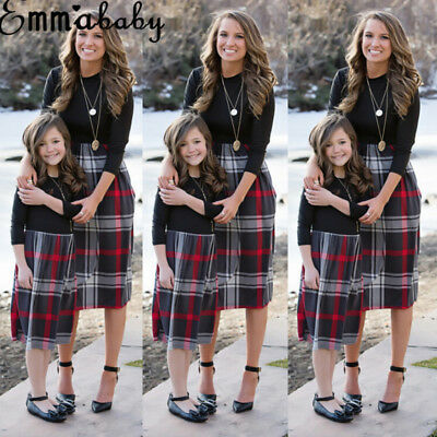 UK STOCK Family Dress Mother and Daughter Matching Girls Outfits Clothes Dresses