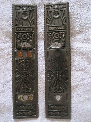 Vintage Antique Victorian Eastlake Brass Knob Door Thumb Latch Face Plate