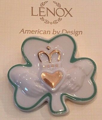 Lenox Irish Lucky Shamrock Claddagh Porcelain Brooch Pin St Patrick's Day 846367