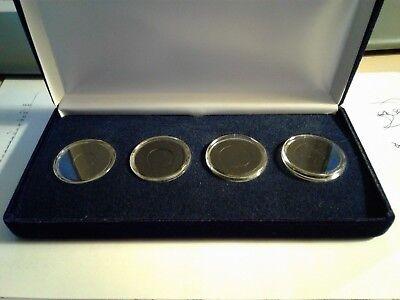 Maundy Money Blue Velvet Display Case with Ringed Coin Capsules