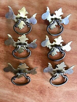 Rare Vintage Antique Single Post Chippendale Brass Batwing Drawer Pulls (6)