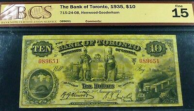 Bcs 15, Fine .  Bank Of Toronto  1935 $10.  Canada Chartered Banknote