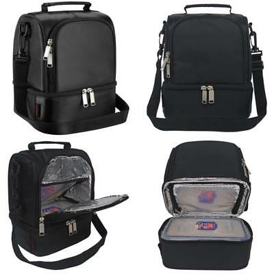 Lunch Bag Insulated Lunch Box For Kids Men Women Adults Dual Compartment Black