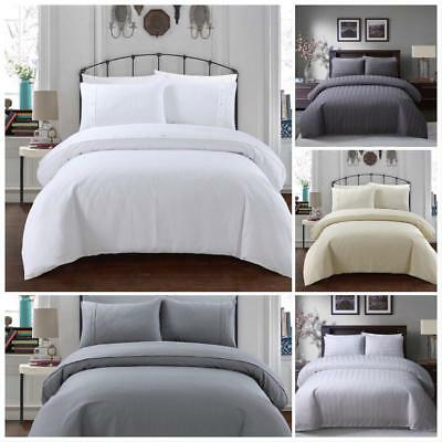 Luxury Hotel Quality Egyptian Cotton Satin Stripe & Waffle  Duvet Cover Set