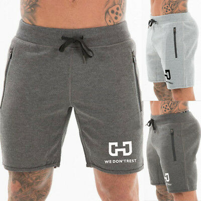 US Mens Fleece Jogger SHORTS Casual Cotton Sweat Classic Fit Gym Athletic Pants