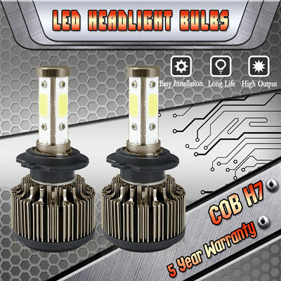 2018 H7 1800W 270000LM 4-Sides CREE LED Headlight Kit High or Low Beam Bulbs HID