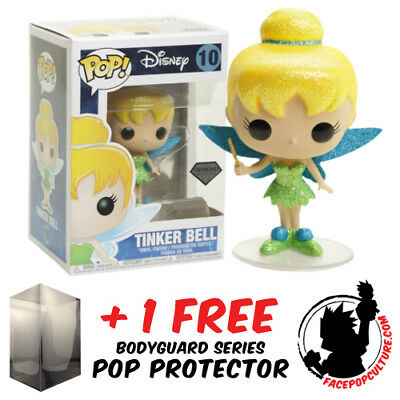 Funko Pop Disney Peter Pan Tinker Bell Diamond Glitter Exclusive + Pop Protector