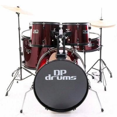 5 Piece Drum Kit Full Size Complete Set Cymbals Stool Wine Red DP Drums