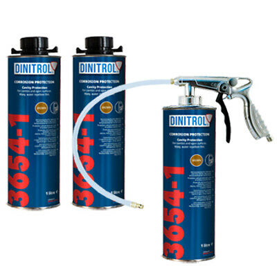 3 X Dinitrol 3654-1 Rust Proofing Cavity Wax 1Ltr Cavity Door + Schutz Spray Gun
