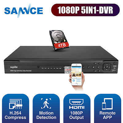 SANNCE 16CH/ 8CH/ 4CH HD 1080P DVR 5IN1 Video Recorder for CCTV Camera System 4T