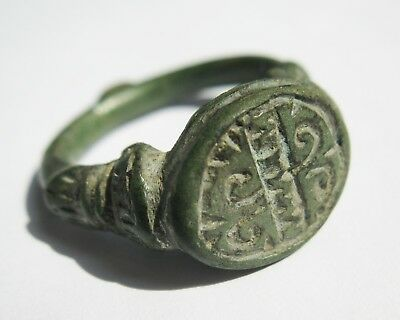 ANCIENT Beautiful Medieval Seal Ring BRONZE