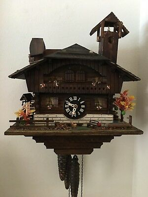 .............................Vintage musical  Cuckoo Clock For Parts or Repair
