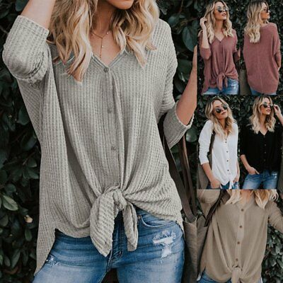 UK Womens Plus Size Long Sleeve Jumper Sweater Ladies Baggy Knot Pullover Tops