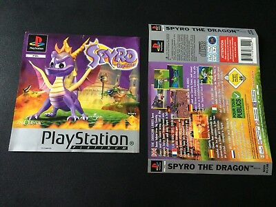 Spyro The Dragon Platinum Inserts Front & Back - Sony PlayStation PS1 Free Post