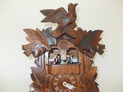 Superb Black Forest Twin Tune Musical Cuckoo Clock with Dancers