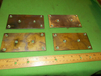 Vintage Set Of  4  Solid Heavy Brass Plates Removed From Antique Door